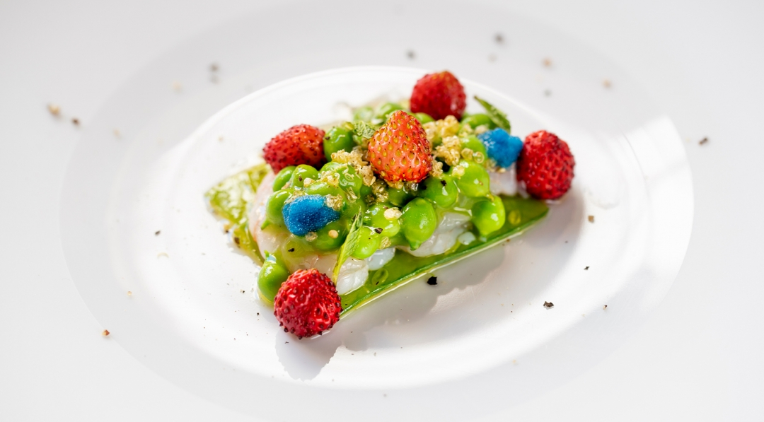 shrimp pickled peas strawberries camarena